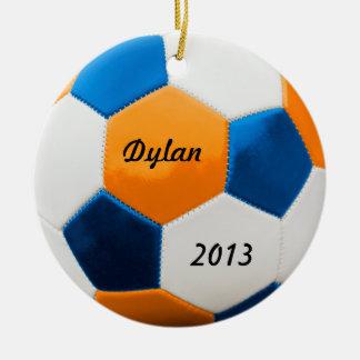 Soccer Blue and Orange Ceramic Ornament