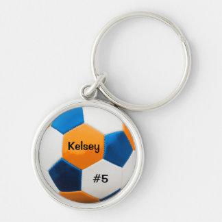 Soccer Blue and Orange Key Ring