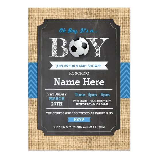 Soccer Blue Boy Baby Shower Football Invite