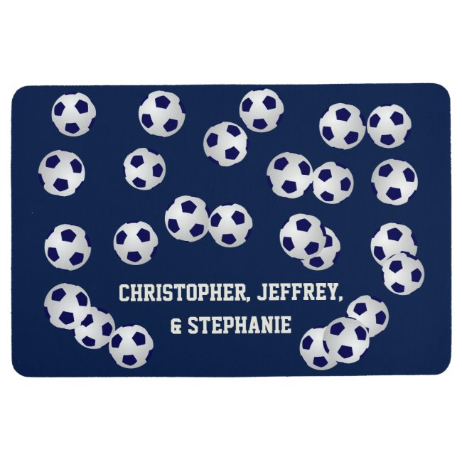 Soccer Blue or Choose Your Color Floor Mat w/ NAME