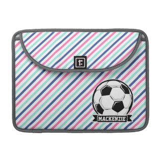 Soccer, Blue, Pink, & White Stripes, Sports Sleeve For MacBook Pro