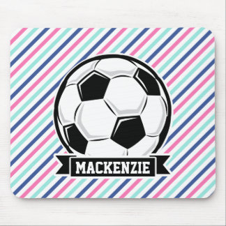 Soccer, Blue, Pink, & White Stripes, Sports Mouse Pad