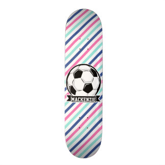 Soccer, Blue, Pink, & White Stripes, Sports Custom Skateboard