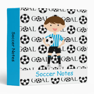 Soccer Boy 1 Light Blue and White Stripes Goal 3 Ring Binder