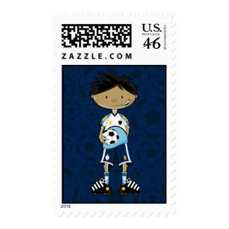 Soccer Boy Holding Ball Stamp