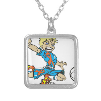 SOCCER BOY M.S. AWARENESS RIBBON SILVER PLATED NECKLACE