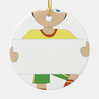 Soccer Boy Double-Sided Ceramic Round Christmas Ornament