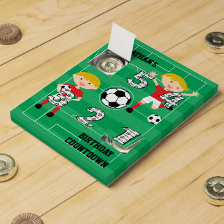 Soccer Boy Red and White Birthday Chocolate Countdown Calendars