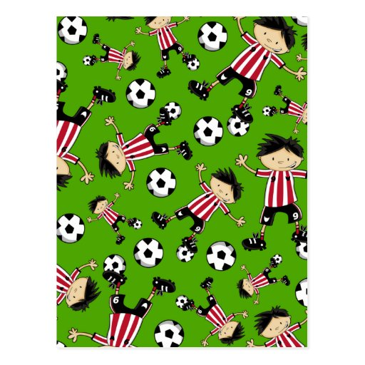 Soccer Boy with Footballs Postcard