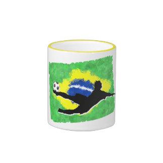 Soccer-Brazil Ringer Mug