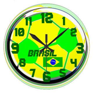 Soccer Brazilian flag customizable name Brasil Large Clock