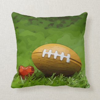 Soccer  brown American Football on green grass Throw Pillow