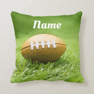 Soccer brown American Football on green Throw Pillow