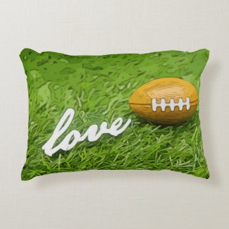 Soccer brown American football with love Accent Pillow