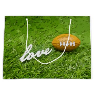 Soccer brown American football with love on green Large Gift Bag