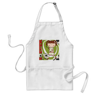 Soccer Brunette Girl T-shirts and Gifts Adult Apron