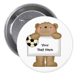Soccer Bulletin Bear (customizable) Pinback Button