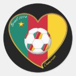 "Soccer ""CAMEROON"" FOOTBALL Team, Fútbol de Camerún Pegatina Redonda"