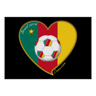 "Soccer ""CAMEROON"" FOOTBALL Team, Fútbol de Camerún Póster"