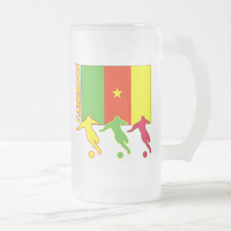 Soccer Cameroon Frosted Glass Beer Mug
