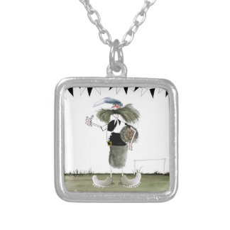 soccer captain black + white kit silver plated necklace