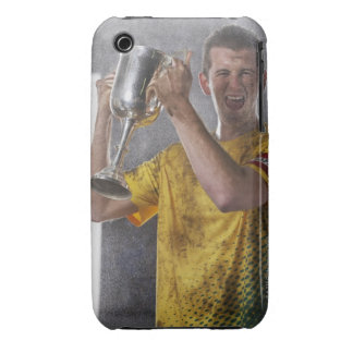 Soccer captain holding up trophy cup on field iPhone 3 cover