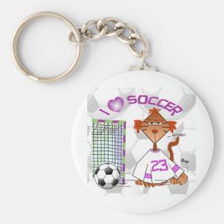 Soccer Cat Basic Round Button Keychain