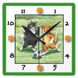 Soccer Cats Square Wall Clock