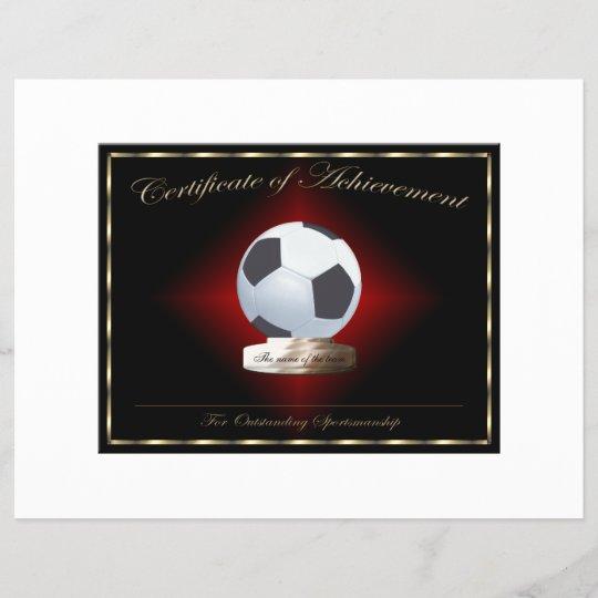 soccer certificate of achievement zazzle com