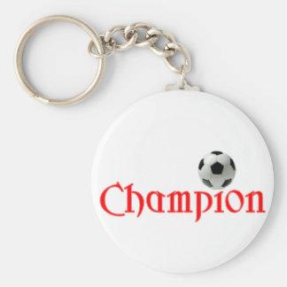 Soccer CHAMPION Basic Round Button Keychain
