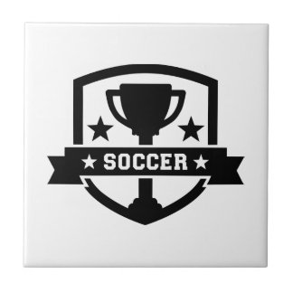 Soccer champion trophy small square tile