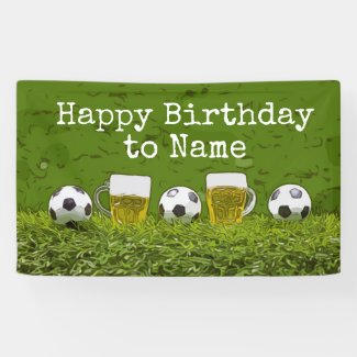 Soccer Cheers and Beers Birthday on green grass  Banner