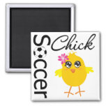 Soccer Chick 2 Inch Square Magnet