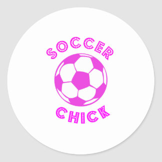 Soccer Chick Classic Round Sticker