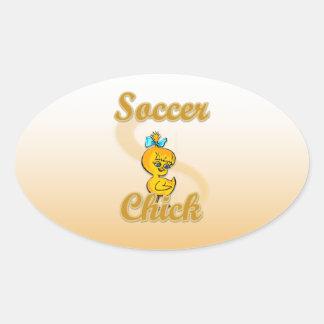Soccer Chick Oval Sticker