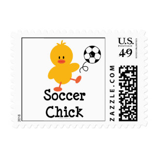 Soccer Chick Postage Stamps