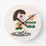 Soccer Chick Round Clock