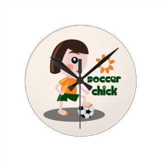 Soccer Chick Round Clock