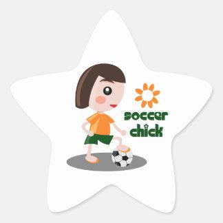 Soccer Chick Star Sticker