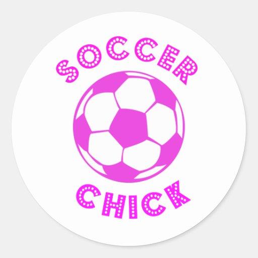 Soccer Chick Round Sticker
