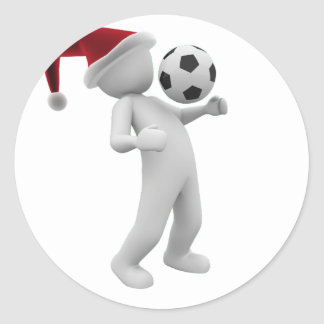 soccer christmas classic round sticker