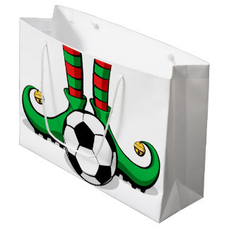 Soccer Christmas Elf Feet Large Gift Bag