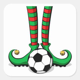 Soccer Christmas Elf Feet Square Sticker