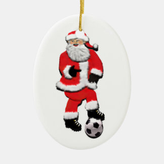 SOCCER CHRISTMAS GIFT Double-Sided OVAL CERAMIC CHRISTMAS ORNAMENT