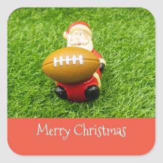 Soccer Christmas Holiday brown American Football Square Sticker