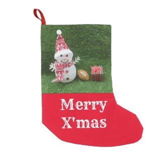 Soccer Christmas Holiday with American Football Small Christmas Stocking