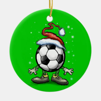 Soccer Christmas Double-Sided Ceramic Round Christmas Ornament