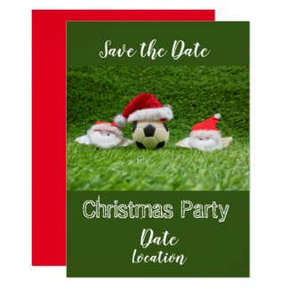Soccer Christmas Save the Date with Santa Claus Invitation