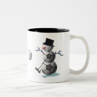 Soccer Christmas Snowman Two-Tone Coffee Mug