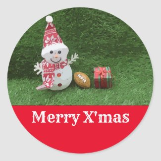 Soccer Christmas Snowman with  American Football Classic Round Sticker